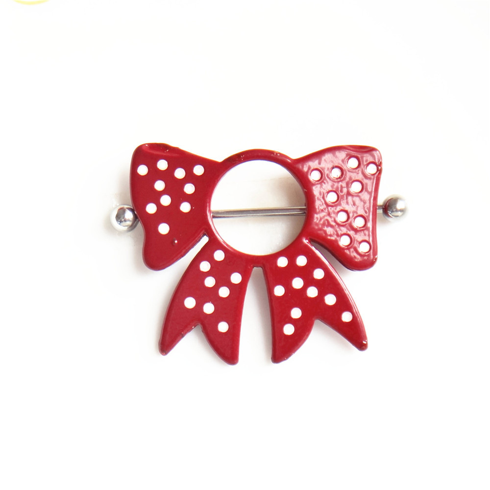 New Sexy Surgical Steel Red Bow Tie Shield Nipple Piercing Nipple Bar Barbell Fashion -4260