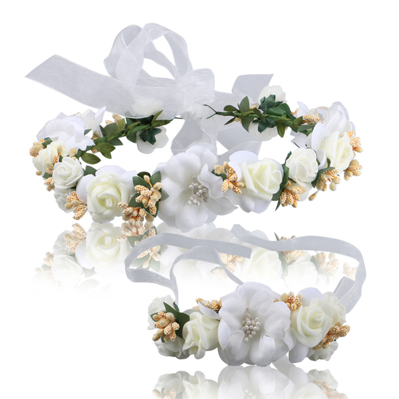 NEW Free shipping KLJH30686 30sets lot 1 colors Silk Silk flower headband bracelet Hawaii Dancer Summer