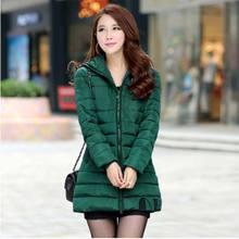 Новый 2016 зима Сгущать Ватные Куртки женщин высокого качества моды случайные тонкий с капюшоном плюс размер длинные вниз Пальто хлопка AE844