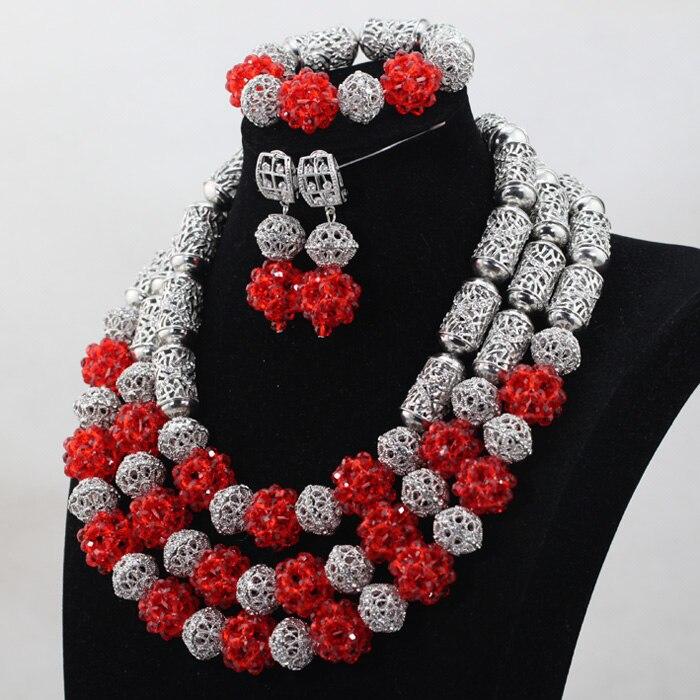 Unikalny kostium srebrny i czerwony kryształ koraliki naszyjnik zestaw biżuterii w stylu Vintage afrykańskie koraliki biżuteria ślubna zestaw darmowa wysyłka QW1033 w Zestawy biżuterii od Biżuteria i akcesoria na  Grupa 2