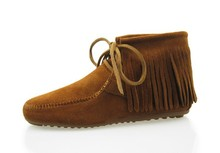 US4-US9.5 EUR 40 41 Натуральная Кожа женщин для Утех Плоский Каблук Fringe Мокасины Круглый Носок Лодыжки Загрузки Обувь