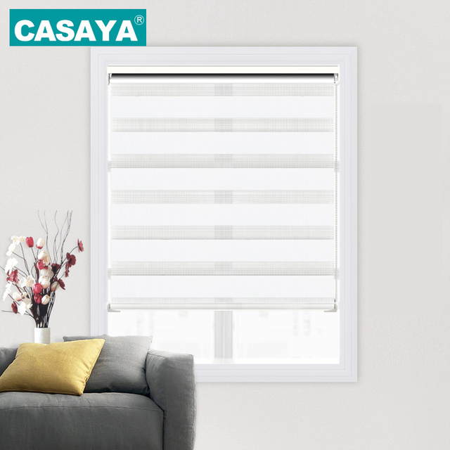 Custom Size No Drill Roller Blinds Valance System Double Layer Printed  Zebra Blinds Roller Shades Bedroom