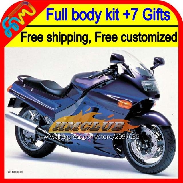 7 gifts Für KAWASAKI NINJA ZX11 Lila blau HM346 ZX11R ZX 11 ZZR 1100 90 91 92 Lila blau 1990 1991 1992 ZZR1100 verkleidung