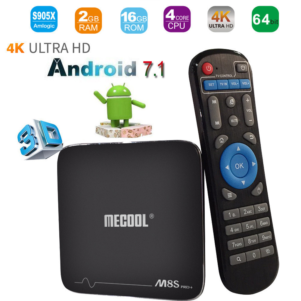 MECOOL M8S PRO+2G Ram 16G Flash Fully Loaded Internet Media Streamers H.265 4K Player Android 7.1 Quad-core Smart TV BOX alan hess ipad fully loaded