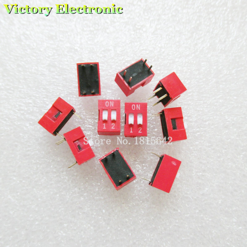 10PCS/LOT Slide Type Switch Module 2.54mm 2 Position Way DIP Red Pitch NEW