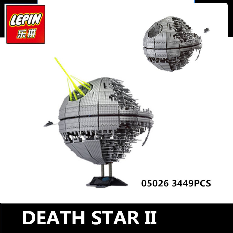 IN STOCK LEPIN 05026 3449Pcs  Death Star II Model Building Kits Wars Blocks Bricks Compatible Children Toys Gift With 10143 new 5265pcs star wars ultimate collector s millennium falcon model building kits blocks bricks kids toys compatible with 10179