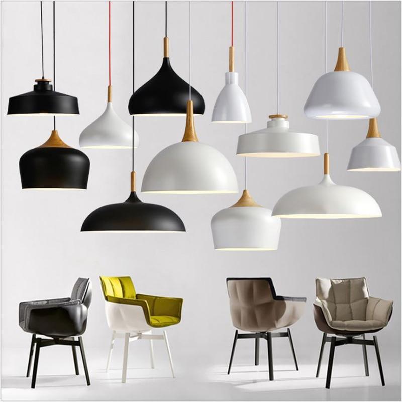 LED Pendant Lights Creative E27 Aluminum Wire Hanging Lamp Nordic Wood