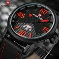 NAVIFORCE Reloj de Los Hombres Correa de Cuero Casual Relojes de pulsera de Cuarzo Deporte Reloj Para Hombre Impermeable Militar Relojes Hombres relogio masculino
