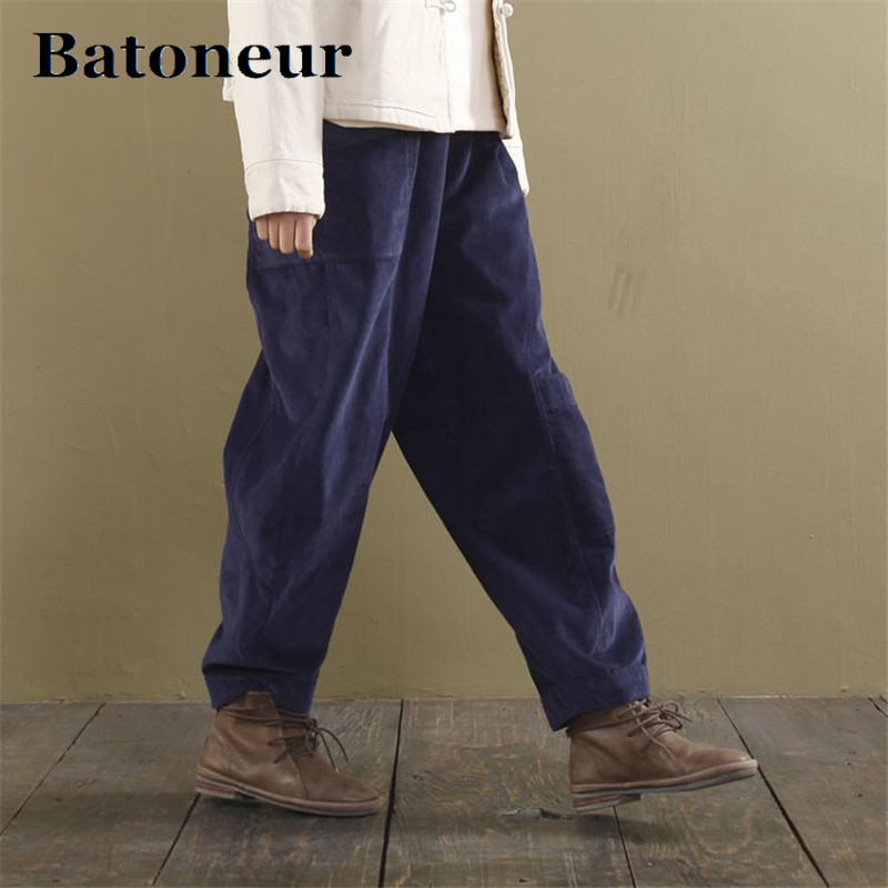 The New Women   Wide     Leg     Pants   Elastic Waist 2018 Autumn New Loose Brief Pockets Women Trouser 5 Colour Corduroy   Pants