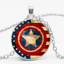 LETS SLIM Marvel Heroes Captain America Shield Time Pendant Necklace Fashion Sweater Chain Family Photo Private Custom