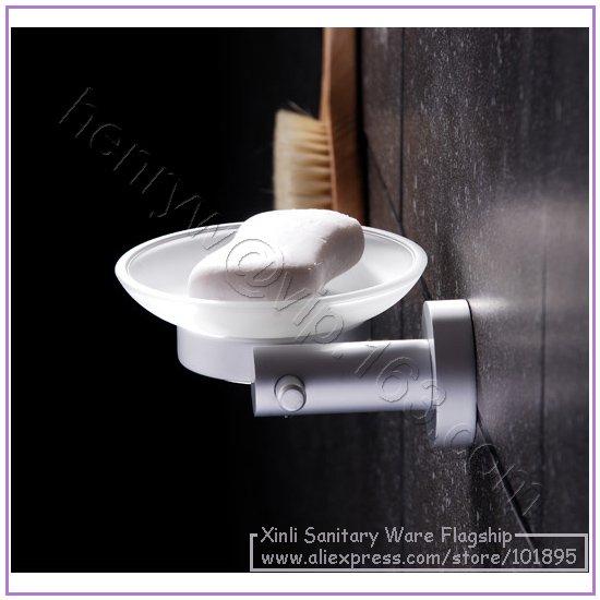 X16460-Роскошные Настенные алюминиевые аксессуары для ванной комнаты, включая туалетную корзина для салфеток держатель с кольцом для полотенец и мыльницей - Цвет: Soap Dish