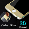 New hot 0.2mm Carbon Fiber soft 3D Curved edge full cover Tempered Glass Screen Protector film For iPhone 6 6S 6 Plus 6s plus HD