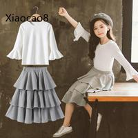 4 5 6 7 8 ~13Y Children Casual Girls Sets Cothing Fall Full Sleeve Shirts +Layered Skirts O Neck Solid Cotton Cute Baby Girl Set