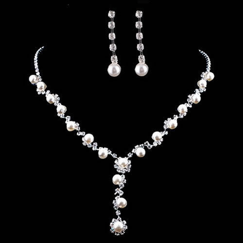 Charm Wedding Bridal Prom Rhinestone Crystal Necklace Earring Plated Jewelry Set