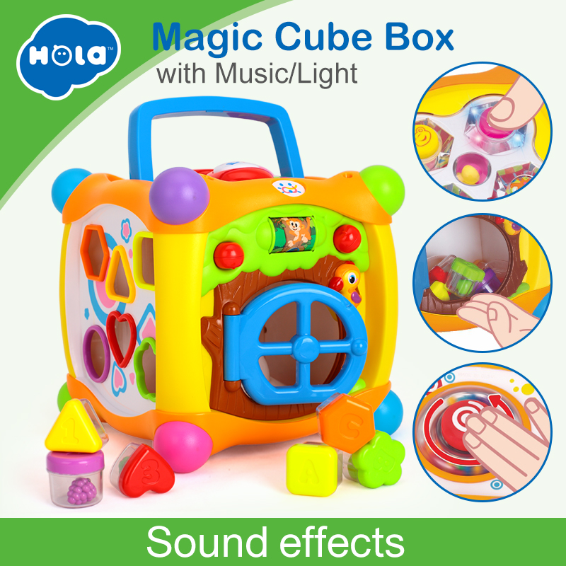 Kids Learning Educational Toys Magic Talking Activity Cube Box Play Center with Lights, Music and More Functions Baby Toys 18m+