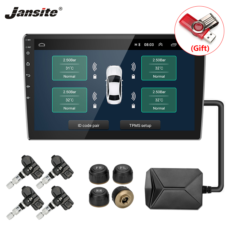 Jansite USB TPMS Car Tire Pressure Alarm Monitor System for Car Android Navigation player with four