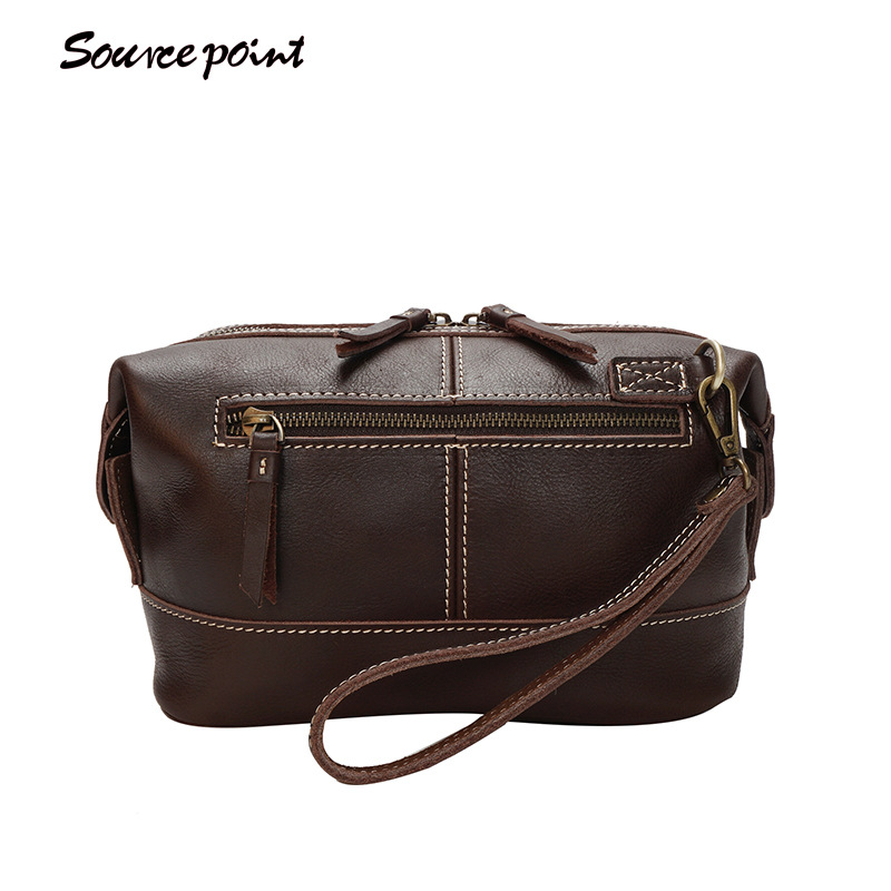 e6afd3bb7d25 SOURCE POINT New Oil Wax Leather Men's Handbag Fashion Genuine Leather Male  Zipper Multifunction Clutch Pouch Unisex Bag YD-8118