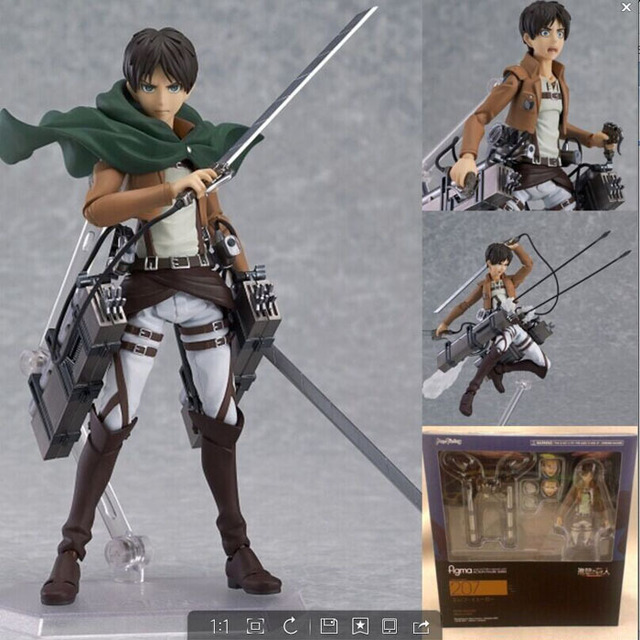 14 cm anime attack on titan eren jaeger shingeki não kyojin mikasa figma 207 figura de ação do pvc modelo coleção toy presente