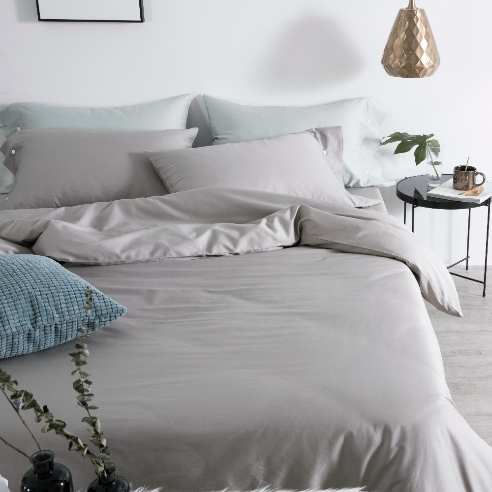 Light Grey Bed Cover 60s Egyptian Cotton Bed Sheet Set