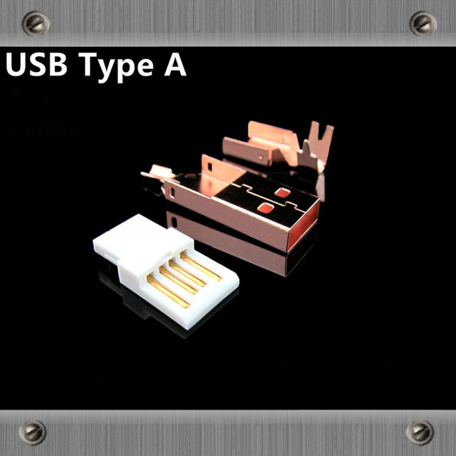 Gold Plated Copper  USB interface Type A Type B Male jack usb Connectors adapter for Audio cable DAC  Printer line diy usb cable