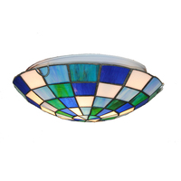 Tiffany Style Flush Mount Light Tiffanylamp Vintage Stained Glass 2 Lights Hanging Ceiling Lamp For Balcony Living Room CL325