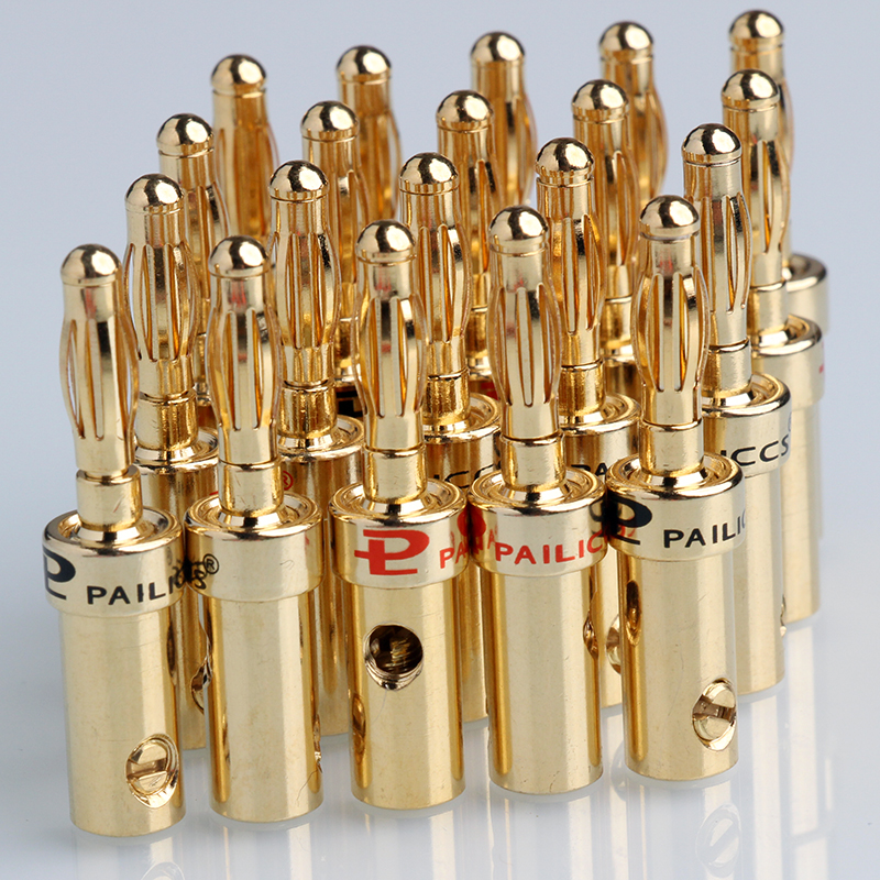 20PCS 4mm Gold Plated Banana Plug Musical Audio Cable Wire S