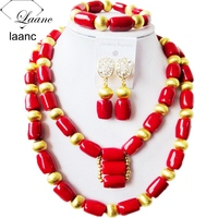 Laanc Brand Nigerian Wedding African Coral Beads Necklace Jewelry Sets Red Bridal Bridesmaid Jewellery AL305