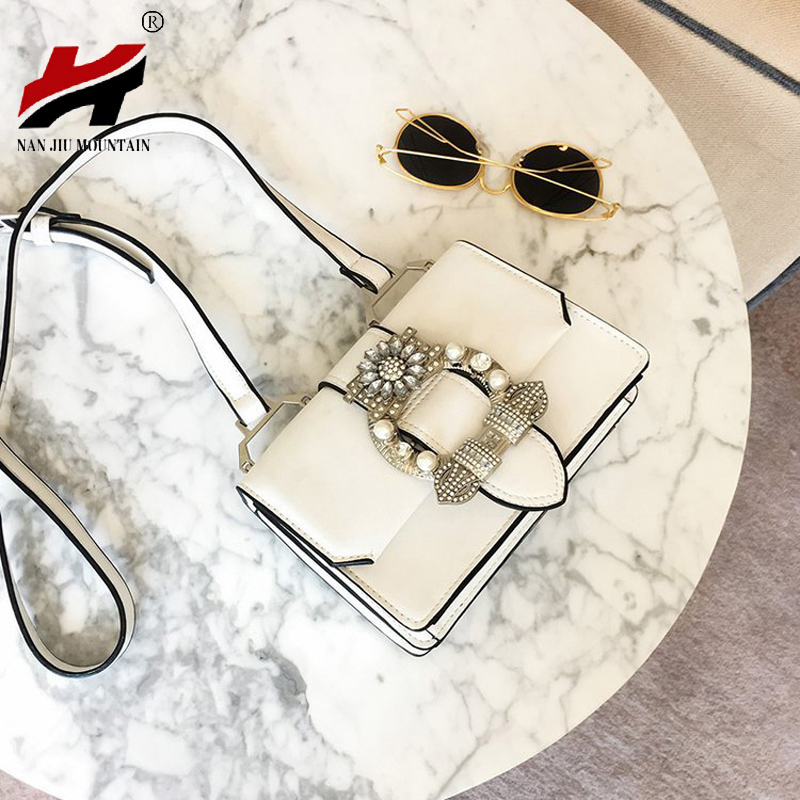 NAN JIU MOUNTAIN 2019 New Shoulder Bag Fashion Crossbody Bag Diamond Pearl Black And White Women's Bag Small Square Package