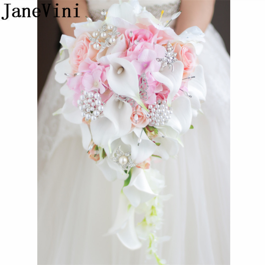 JaneVini Artificial Pink Waterfall Bridal Bouquets Pearl Beaded Wedding Flowers Bouquet Red Bride Brooch Jewelry Rose Mariage