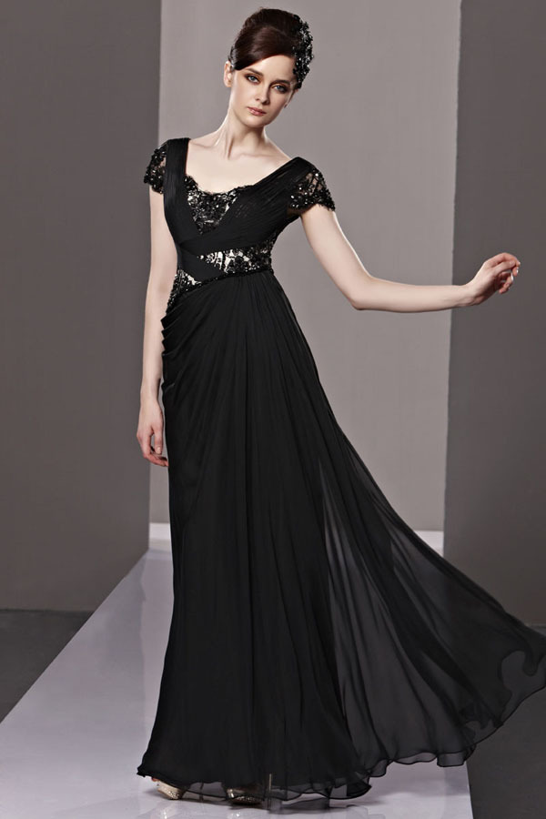 Black Colour Lace Chiffon with Sleeves Arabic Evening Gowns Dresses ...