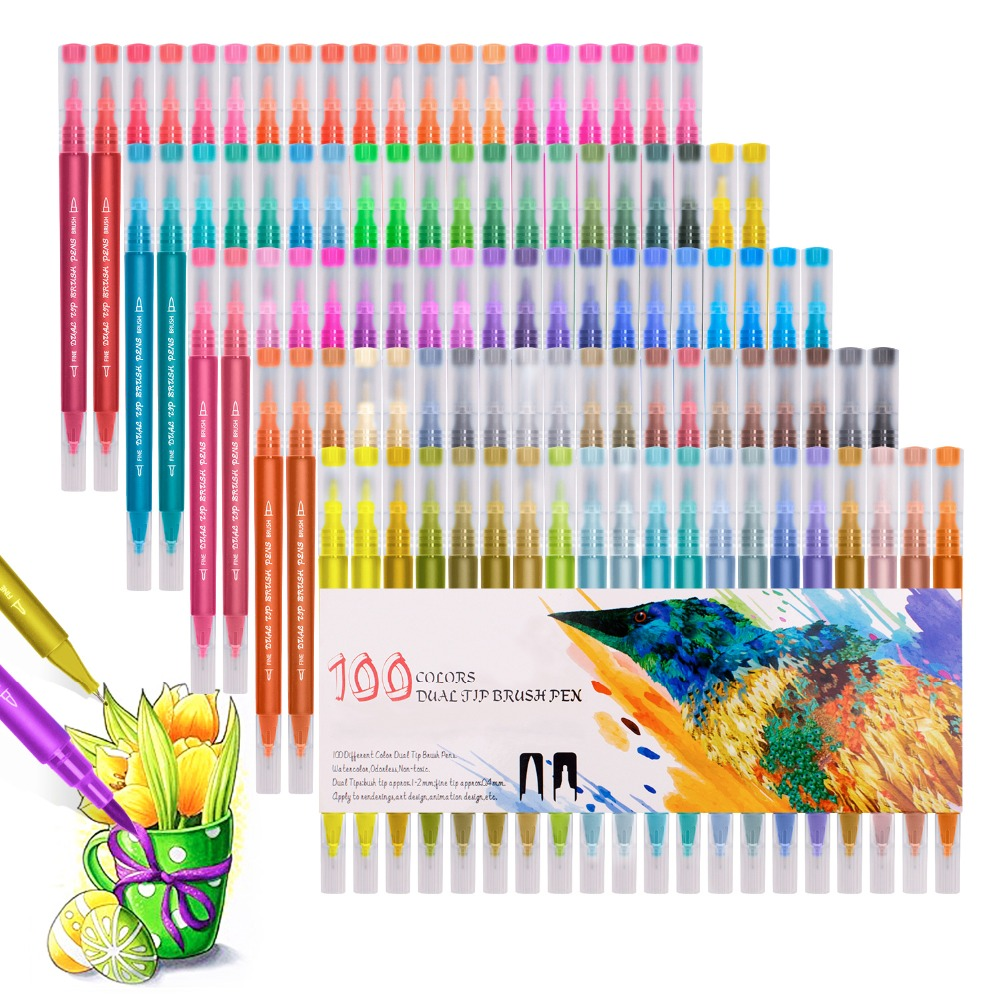 Watercolor Markers Washable Pen Sketching Painting Dual Brush Pen Set Soft Permanent Markers 48 60 72 100 Colors For Art Drawing
