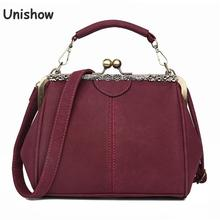 Unishow Vintage Shoulder Bags Women Matte Pu Leather Clip Women Messenger Bag Small Brand Designer Female Handbag Ladies Sac