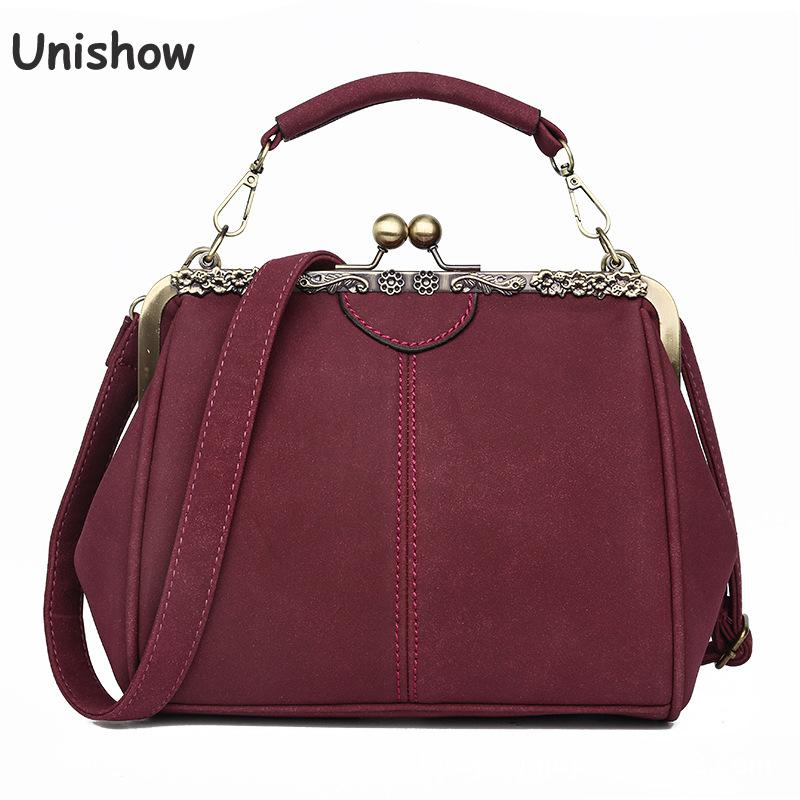 Unishow Vintage Shoulder Bags Women Matte Pu Leather Clip Women Messenger Bag Small Brand Designer Female Handbag Ladies Sac title=