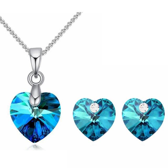 Blue Heart Pendants Crystal...