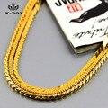"""4 мм / 30 """" дюймовый мужская нержавеющей стали 24 К позолоченные площади / круглый змея цепи хип-хоп крис браун стиль ожерелье"""