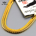 "4mm /30""inch  Mens Stainless Steel 24K Gold Plated Square/Round Snake Chain  Hip Hop Chris Brown Style Necklace"