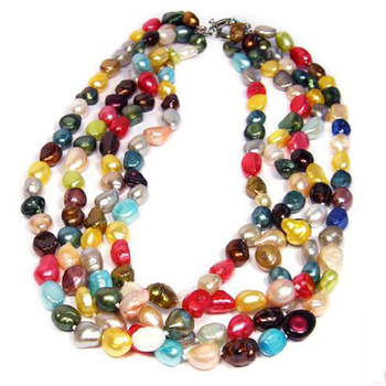 Natural Rainbow Pearl Necklace,20inches Statement Women's Handmade Real Freshwater Pearl Jewellery,New Free Shipping