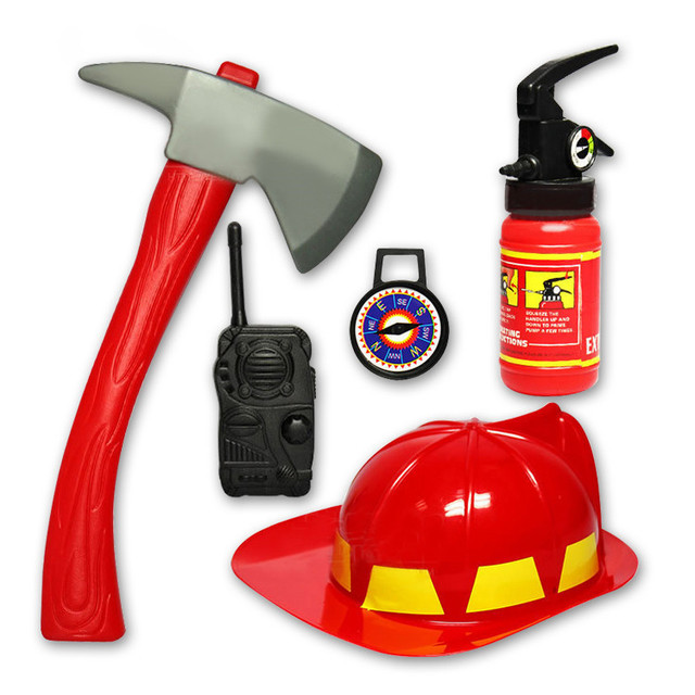 US $10 79 10% OFF|New children firefighter toys Simulation fire rescue tool  toy sets fireman helmet fire extinguisher compass baby boys for gift-in