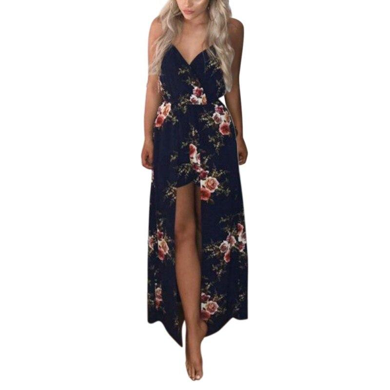 Summer Women Split Dress Floral Print Sexy Deep V Neck Women Dresses Vestido Costume Female Cloth