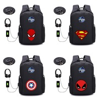 Marvel Comics Comics School Backpack women men Shoulder Laptop Travel Bag USB Charge Anti theft Backpack