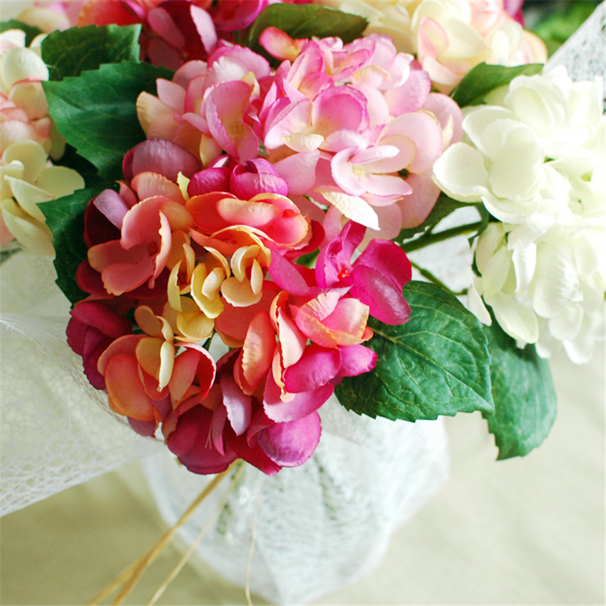 Artificial hydrangea silk flowers flores artificiales fake for Artificial flowers for wedding decoration