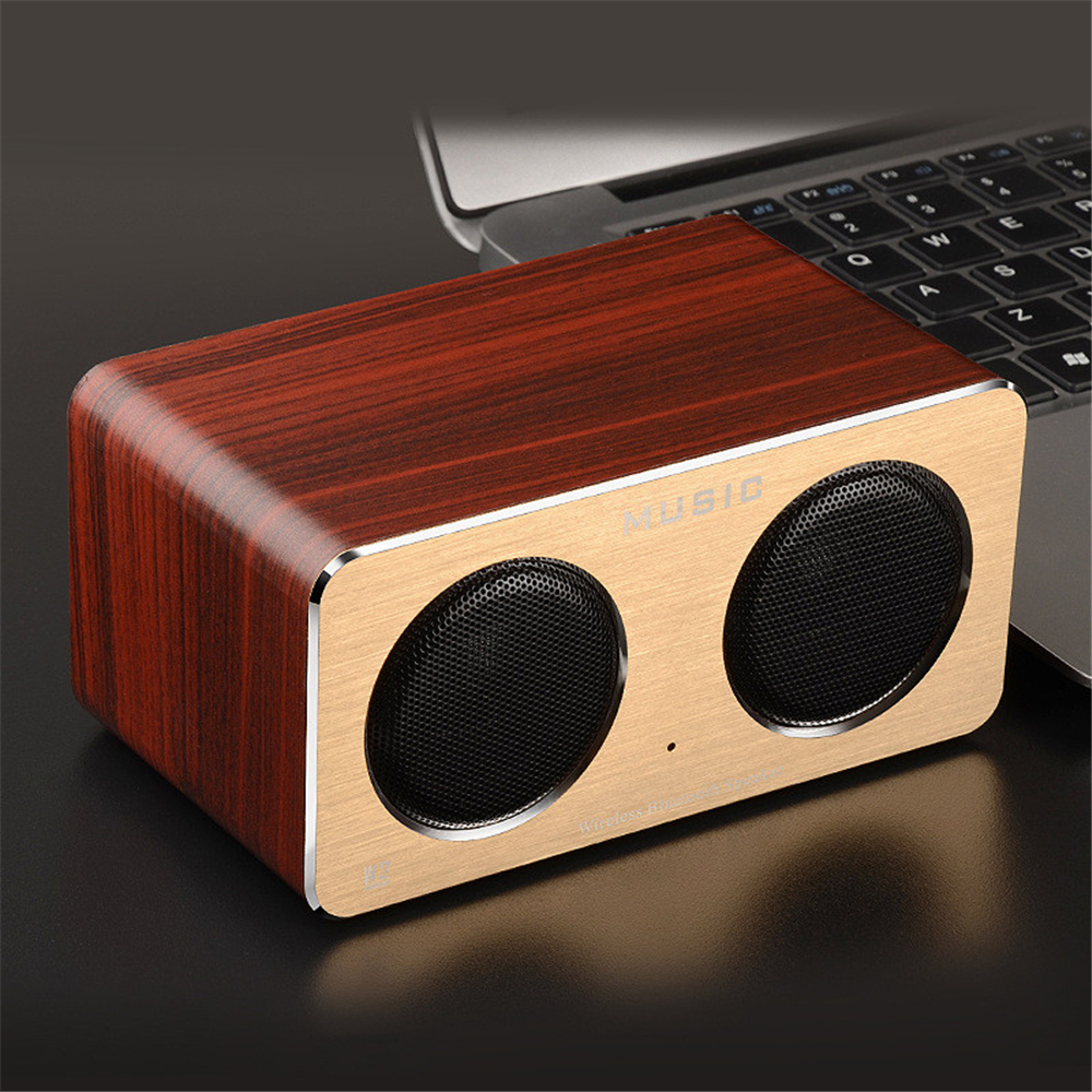HIFI Wooden Bluetooth Speaker 6w Portable Mini Wood Speaker Dual Stereo Subwoofer Loudspeaker Support TF Card/AUX-IN Handsfree