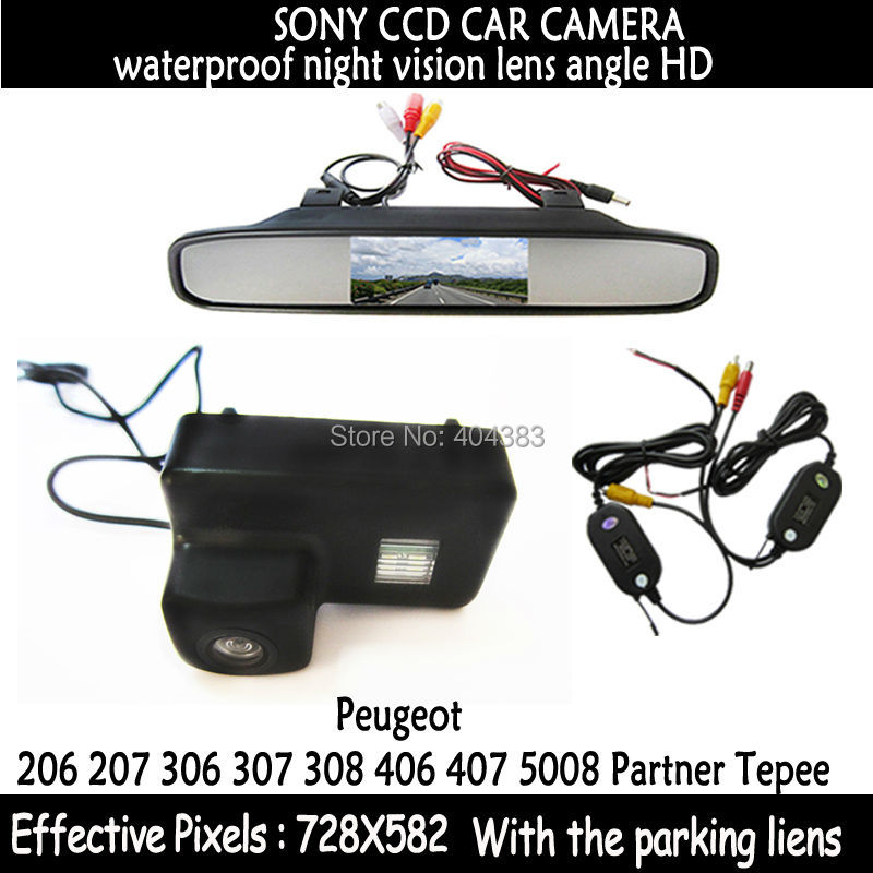 Wireless Color Car RearView Camera for Peugeot 206 207 306 307 308 406 407 5008 Partner