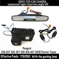 Wireless Color Car RearView Camera for Peugeot 206 207 306 307 308 406 407 5008 Partner Tepee+4.3 Inch rearview Mirror Monitor