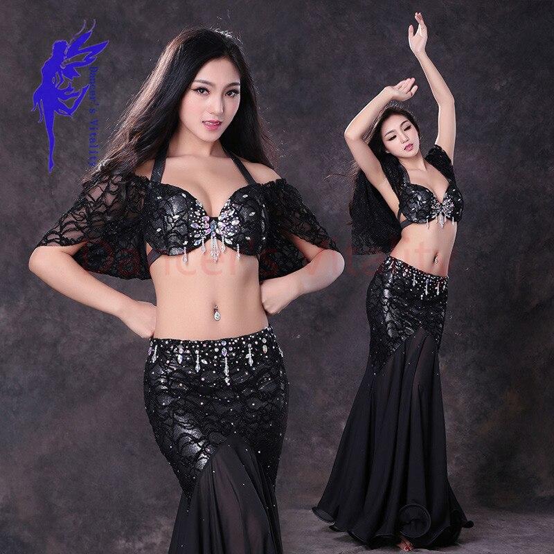 Новинка! Кружевные костюмы для танца живота топ с короткими рукавами + длинная юбка 2 шт. Набор для танца живота для женщин костюмы для танца