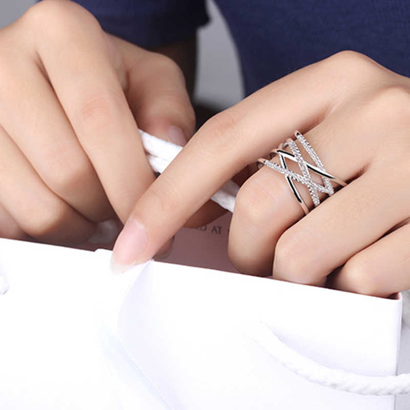 XIYANIKE Korean Style 925 Sterling Silver Opening Rings Multi layer Jewelry Mosaic Zircon Rings For Women 2019 New Gift Wedding