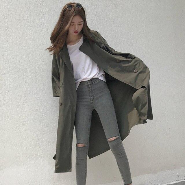 Abrigo largo Vintage coreano para mujer primavera moda Otoño delgada  rompevientos ropa de gran tamaño Harajuku abrigo tres cuartos