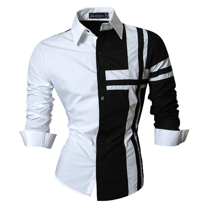 Image 4 - Jeansian Mens Dress Shirts Casual Stylish Long Sleeve Designer Button Down Slim Fit Z014 WhiteCasual Shirts   -