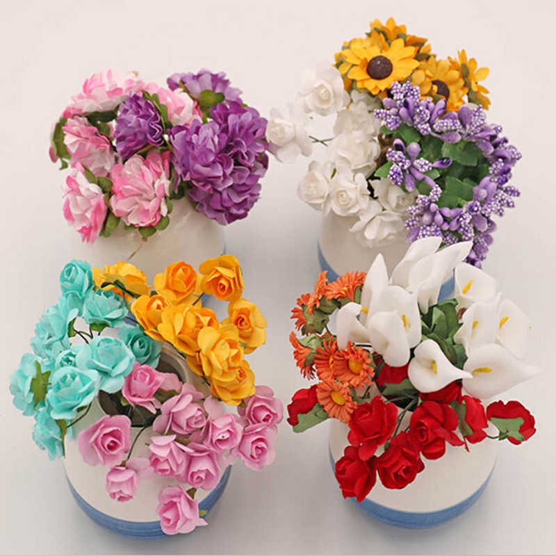 10 Styles Fake Purple Lavender Handmade Bouquet Sunflower Calla lily Doll Decor Artificial Flowers For Doll House Carnation Rose