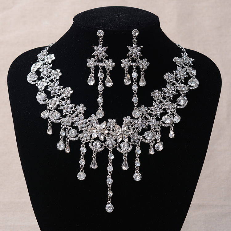 Luxury Silver Crystal Flowers Bridal Jewelry Set For Women Statement Necklace Earring Rhinestone Tiara Wedding Party Accessories